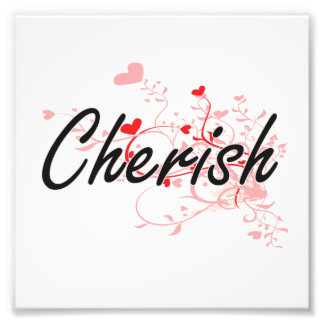 Cherish Artistic Name Design with Hearts Photograph