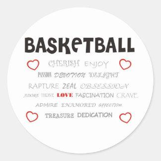 cherish-basketball. classic round sticker