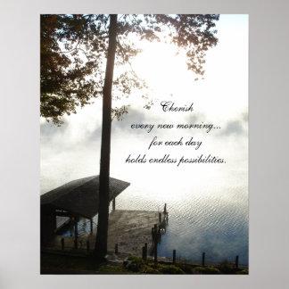 Cherish Every Morning - Foggy Lake Poster
