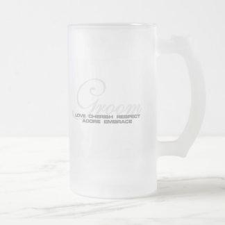 Cherish Groom Frosted Glass Beer Mug