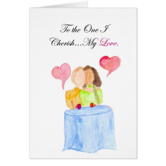 Cherish Interracial BW/WM Bright Card