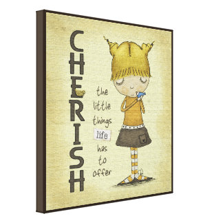 Cherish the Little Things-Young Girl with Bird Stretched Canvas Print