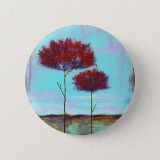 Cherished, Abstract Art Landscape Red Trees 6 Cm Round Badge