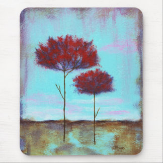 Cherished, Abstract Art Landscape Red Trees Mouse Pad