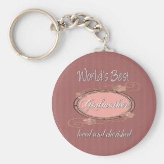 Cherished Godmother Basic Round Button Key Ring