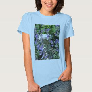 Cherob Bird Bath and Flowers Tee Shirt
