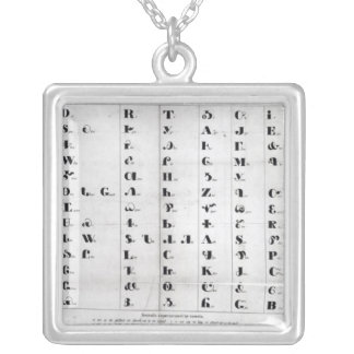 Cherokee Alphabet, Pendelton's 'Lithography' Silver Plated Necklace