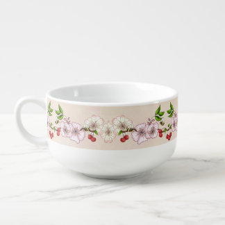 Cherries and Blossoms Border Soup Mug