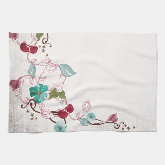 Cherries and flowers American MoJo Kitchen Towel