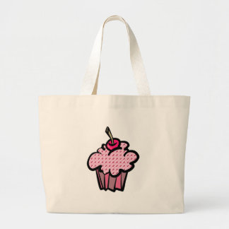 cherries and hearts cupcakes large tote bag