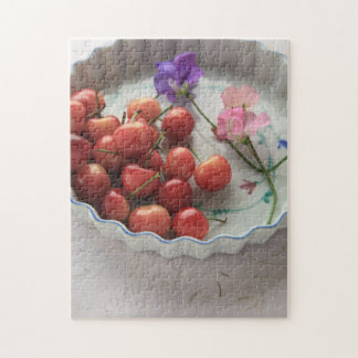 Cherries and sweet peas in pie plate jigsaw puzzle