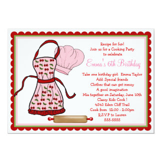 Cherries Apron and Chef Hat Birthday Invitations