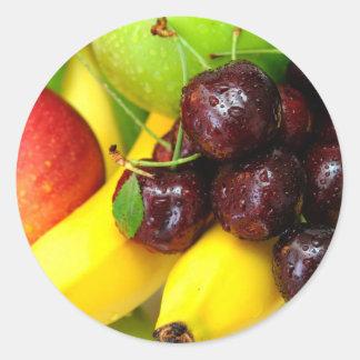 Cherries Bananas And Apples Round Sticker