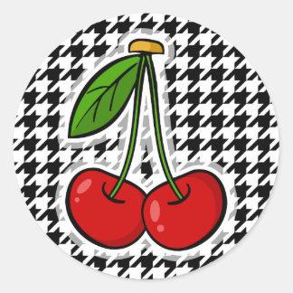 Cherries; Black & White Houndstooth Round Stickers