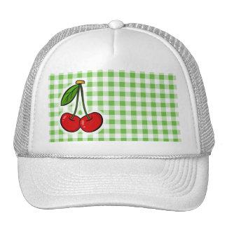 Cherries Green Gingham Trucker Hats