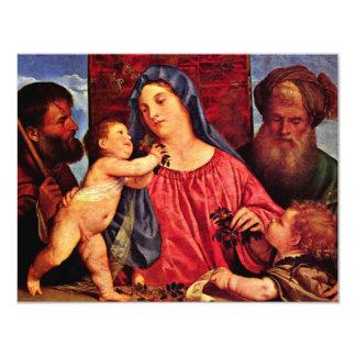 Cherries Madonna By Tizian (Best Quality) 11 Cm X 14 Cm Invitation Card