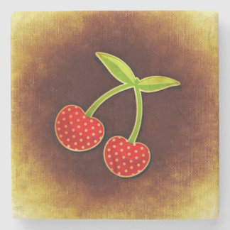 Cherries Marble stone coaster
