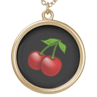 Cherries on Black Gold Plated Necklace