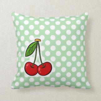 Cherries on Celadon Green Polka Dots Throw Pillows