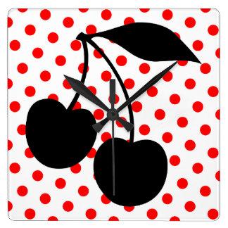 Cherries on Red Polka Dots Clocks