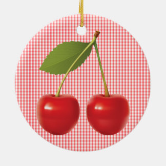 CHERRIES ON STEM CERAMIC CIRCLE ORNAMENT