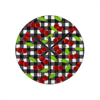 Cherries plaid pattern round clock
