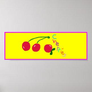 'Cherries' Poster Sign. Customizable