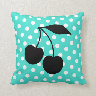 Cherries Shape on Turquoise Dots Throw Pillow