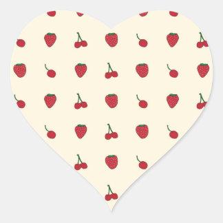 Cherries & Strawberries Pattern Heart Sticker