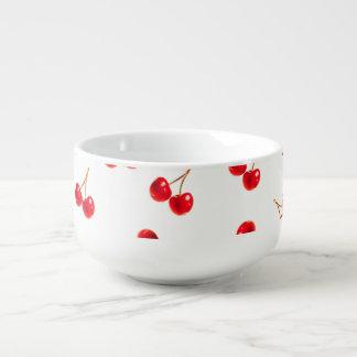 cherries vivid soup bowl with handle