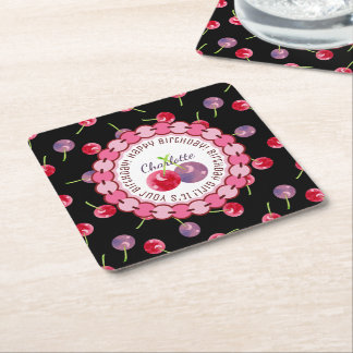 Cherries Watercolor Personalized Birthday Square Paper Coaster