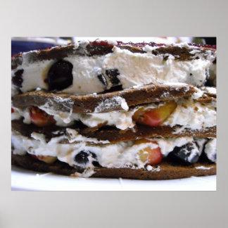 Cherries, Whipped Cream and Cake Photo Poster
