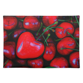 cherries with heart love place mats
