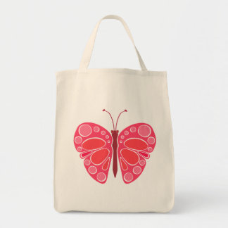 Cherry 60s Whimsical Butterfly Grocery Tote Bag