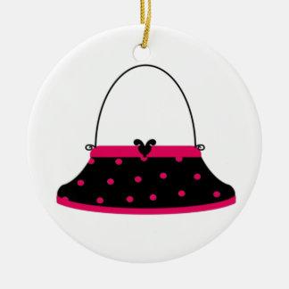 Cherry and Black Purse Round Ceramic Decoration