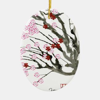 cherry blossom 11 Tony Fernandes Ceramic Oval Decoration