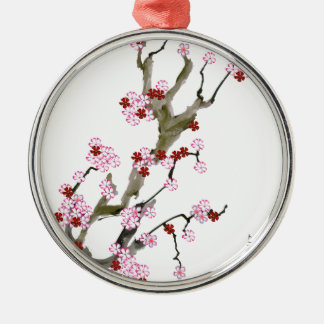 Cherry Blossom 16 Tony Fernandes Silver-Colored Round Decoration