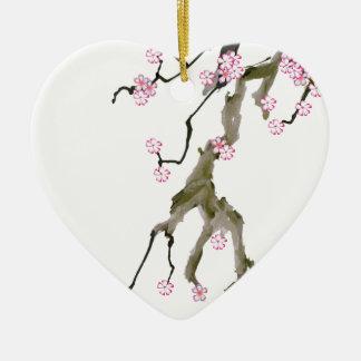 Cherry Blossom 17 Tony Fernandes Ceramic Heart Decoration