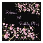 Cherry Blossom 21st Elegant Birthday Party Black 13 Cm X 13 Cm Square Invitation Card