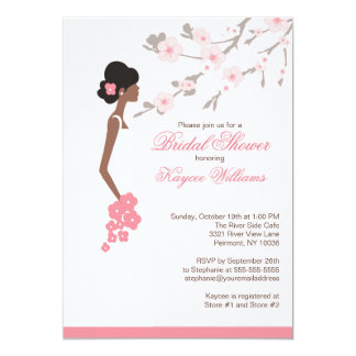 Cherry Blossom African American Bridal Shower 13 Cm X 18 Cm Invitation Card