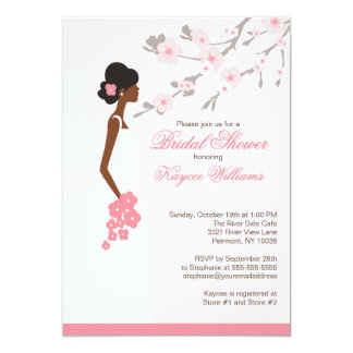 Cherry Blossom African American Bridal Shower 5x7 Paper Invitation Card