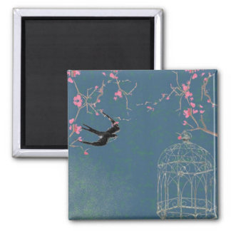 Cherry blossom and birdcage magnet