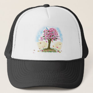 cherry blossom and blue bird trucker hat