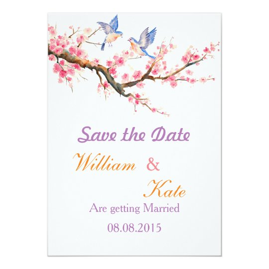 Cherry Blossom and Blue Birds Save the Date