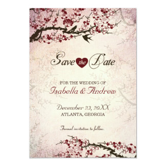 Cherry Blossom and Love Birds Save The Date 2 13 Cm X 18 Cm Invitation Card