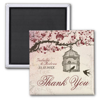 Cherry Blossom and Love Birds Square Magnet