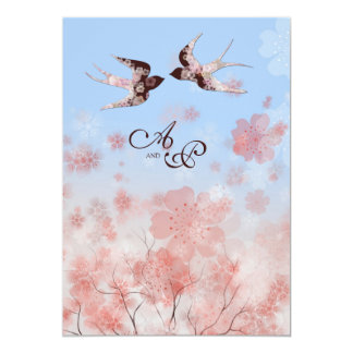Cherry Blossom and Love Swallows Wedding Card