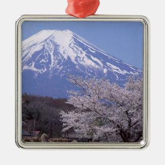 Cherry Blossom and Mt. Fuji Silver-Colored Square Decoration