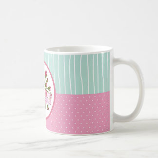 Cherry Blossom and Patchwork Background Coffee Mug
