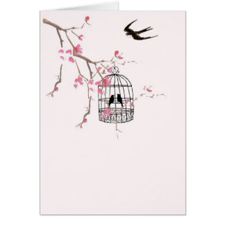 Cherry blossom and swallow card